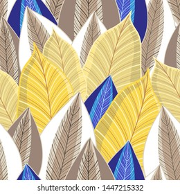 Vector seamless pattern of autumn golden leaves of different shades. Template for the design of wallpaper, fabric or web site.