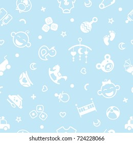 Vector seamless pattern with baby objects. Newborn clothes and accessories seamless background in trendy flat style.For fabric, baby clothes, background, textile, wrapping paper and other decoration.