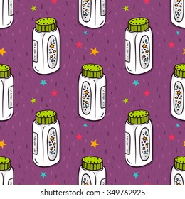 Vector seamless pattern with baby powder bottle and stars