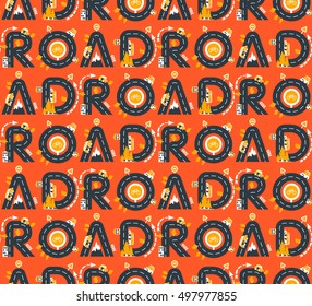 Vector seamless pattern with baby styled letters ROAD and city traffic elements