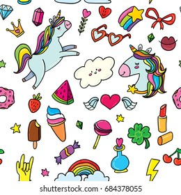 Vector seamless pattern background with animals, characters and things. Hand-drawn stickers, pins, emoji in cartoon 80s-90s comics style doodle with unicorns, rainbows, stars, gems, lollipops, hearts