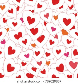Vector seamless pattern background with bright hearts. Happy Valentine's Day.