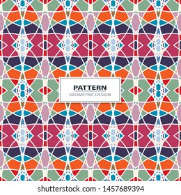 Vector seamless pattern background with different geometrical shapes of multiple colors. Illustration with symmetrical design.