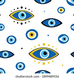 Vector seamless pattern background with different turkish blue eye-shaped amulets, nazar talismans and dots.