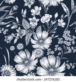 Vector seamless pattern. Background for for fabrics, textiles, paper, wallpaper, web pages, wedding invitations. Vintage style. Floral ornament.