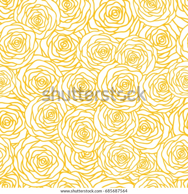 Vector Seamless Pattern Background Gold Outline Stock Vector