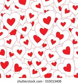 Vector seamless pattern background with hand drawn bright hearts. Happy Valentine's Day.