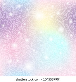 Vector seamless pattern background with paisley lace and shining sparcles on soft pastel unicorn magic color palette gradient. Fairy style
