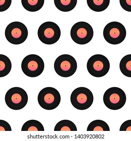 Vector seamless pattern background with phonograph records or vinyl records.