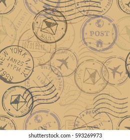 Vector Seamless Pattern Background of Postal Stamps.