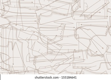 vector seamless pattern background sheets of paper with patterns for clothes. Thread Sewing Hobby, Handmade and Craft items monochrome