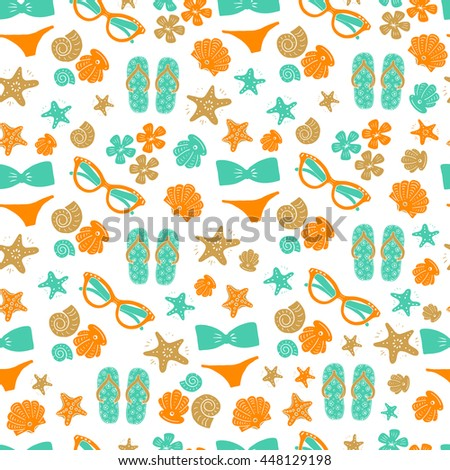85f3e2968bbca2 Vector Seamless Pattern Background Sunglasses Swimsuit Stock Vector ...