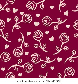 Vector seamless pattern  background. White randomly placed roses on red background with little hearts.