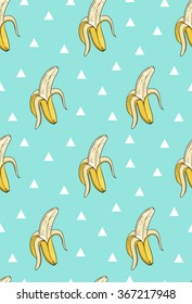 Vector seamless pattern with bananas and triangles. Hand drawn illustration.