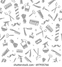 Vector seamless pattern for Barber Shop. Barber and hairdresser tools isolated on white background. Print fabric, barbershop decoration paper pattern. Endless background