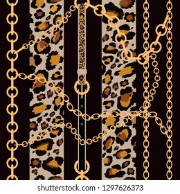 Vector seamless pattern of baroque trend with golden chain and leather belts and leopard print on black background, Vintage patch for scarfs, print and fabric
