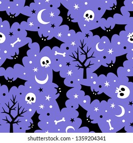 Vector seamless pattern with bats, moons, skulls and trees.