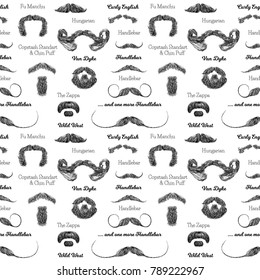 Vector seamless pattern with beards and mustaches. Hand drawn illustration with fashionable men's styles. Linear Graphics. Kinds and names of hairstyles