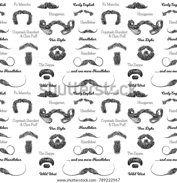Incredible Vector Seamless Pattern Beards Mustaches Hand Stock Vector Natural Hairstyles Runnerswayorg