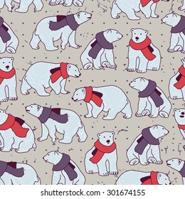 Vector seamless pattern with bears and scarfs