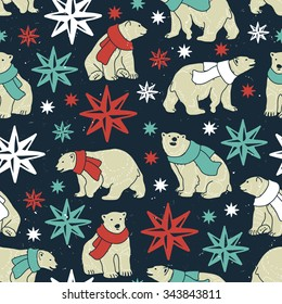 Vector seamless pattern with bears, scarfs and stars