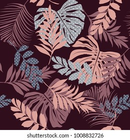 vector seamless pattern beautiful artistic silhouette  tropical leaves in polka dot  pattern with exotic forest. Colorful original stylish floral print on dark maroon color background.