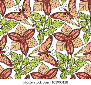 Vector seamless pattern with beautiful butterflies flying over the flowers.