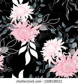 Vector seamless pattern of a beautiful floral bouquet with Japanese chrysanthemum and herbs. Black background.