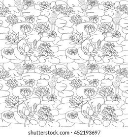 Vector seamless pattern with Beautiful  hand drawn lotus flowers and leaves. Sketch floral  background in black and white style for coloring page.