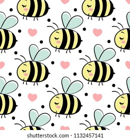 Vector seamless pattern with bees in love