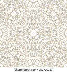 Vector seamless pattern with beige ornament. Vintage element for design in Eastern style. Ornamental lace tracery. Ornate floral decor for wallpaper. Endless texture. Light pattern fill.