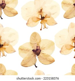 Vector seamless pattern with beige transparent orchids.