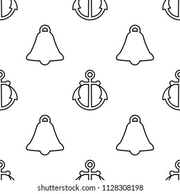 Vector seamless pattern with bells and anchors. Monochrome background, marine theme. Good for textile, wrapping, wallpaper