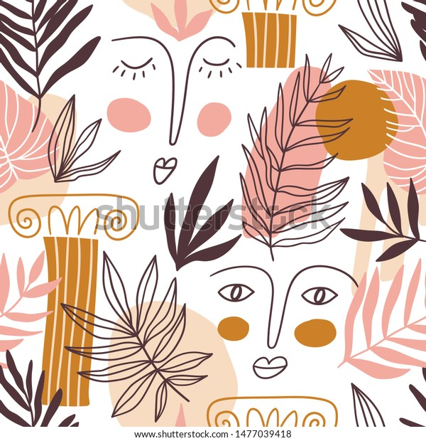vector Seamless pattern with big colorful shapes, leaves, faces and greece elements. Cute trendy design for fabric or wallpaper.