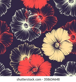 Vector seamless pattern with big monochromatic mallow flowers. No gradients and clipping mask. Modern floral illustration, print, fabric, textile.