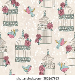 Vector seamless pattern with birds, birdcages and roses. Vintage romantic illustration. Perfect for invitations, wallpapers, manufacture wrapping paper, textile, wedding and web design.