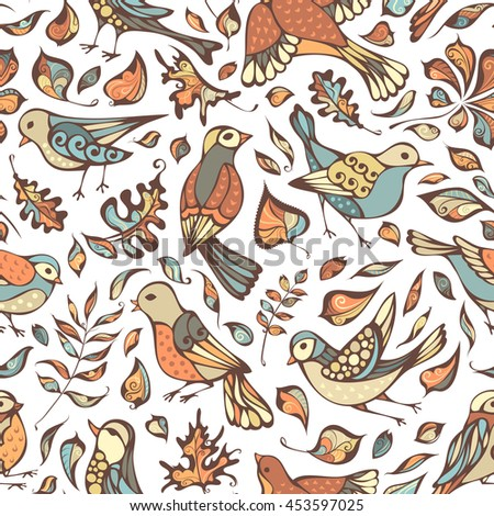 Vector seamless pattern of birds and leaves. Hand-drawn pastel nature boundless background. Oak, maple, birch, rowan, chestnut leaves.