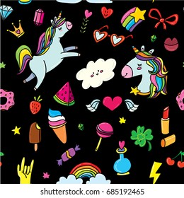 Vector seamless pattern black background with animals, characters and things. Hand-drawn stickers, pins in cartoon 80s-90s comics style doodle with unicorns, rainbows, stars, gems, lollipops, hearts