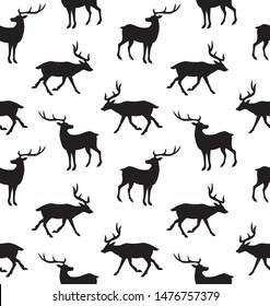 Vector seamless pattern of black deer silhouette isolated on white background