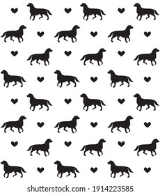Vector seamless pattern of black dog silhouette and hearts isolated on white background