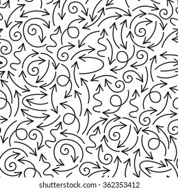 Vector seamless pattern with black doodle arrows.