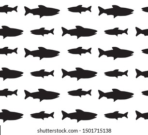 Vector seamless pattern of black fish silhouette isolated on white background