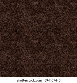 Vector Seamless Pattern. Black Fur Background. Bear, Dog Skin. Digital Illustration.