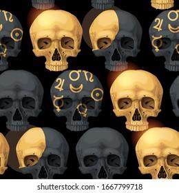 Vector seamless pattern with black human skulls