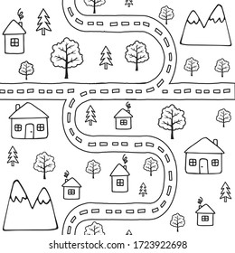Vector seamless pattern of black outline hand drawn doodle sketch country landscape with houses and trees isolated on white background