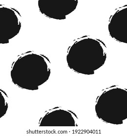 Vector seamless pattern with black paint circle. Hand draw vintage spot. Abstract repeat background. Modern fabric brush illustration