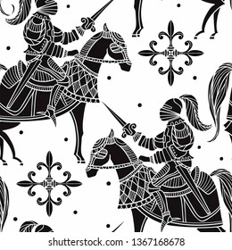 vector  seamless pattern with black silhouettes of medieval knights