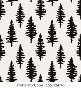 vector seamless pattern with black silhouettes of christmas trees,spruce forest
