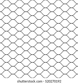 Vector seamless pattern, black thin wavy lines on white backdrop. Illustration of mesh, fishnet, fish scales. Subtle monochrome background, simple repeat texture. Design for prints, decoration, web