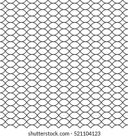 Vector seamless pattern, black thin wavy lines on white backdrop. Illustration of mesh, fishnet. Subtle endless monochrome background, simple repeat texture. Design for prints, decoration, digital